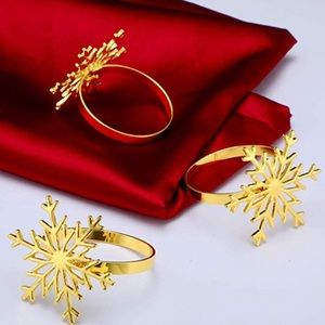 Christmas Snowflake Napkin Rings Gold Holiday Gift